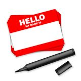 Blank template tag my name is. Red color blank stickers white label with marker isolated on white background. vector illustration