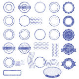 Blank templates of shabby postal stamps. Blank templates of shabby blue postal stamps Stock Image