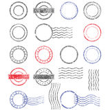Blank templates of shabby postal stamps. Of round shape Royalty Free Stock Images