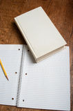 Blank text book with notepaper Royalty Free Stock Photos