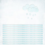 Blank textured letter with lines and clouds. Blank light blue textured letter with lines and clouds and rain drops Stock Photos
