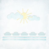 Blank textured letter with sun and clouds. Greeting card with paper ships, clouds and sun on a textured background Stock Image