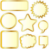 blank texturerade bubblaguldetiketter Stock Illustrationer