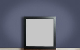 Blank thick Black photo frame on purple. stock photos