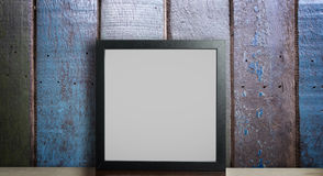 Blank Thick Photo frame on rustic wooden. stock photos