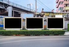Blank three billboard advertise on wayside. In urban Stock Image