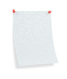 Blank thumbtacked squared paper page with shadow Royalty Free Stock Photos