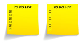 Blank ticked unticked to do list. In yellow color Royalty Free Stock Photos