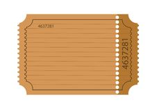 Blank ticket. Isolated on the white background Royalty Free Stock Photos