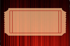 Blank Ticket over Red curtains stock illustration
