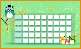 Blank timetable with owls Royalty Free Stock Photo