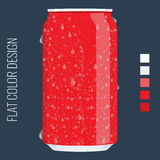 Blank Tincan packaging. Vector Mock up template. Flat color style. Royalty Free Stock Images
