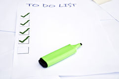 Blank to do list. And a marker Royalty Free Stock Photos