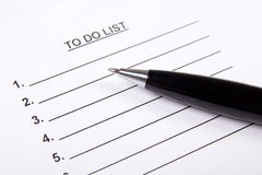 Blank to do list and pen Stock Photography
