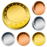 Blank token coins set with copy space Royalty Free Stock Images