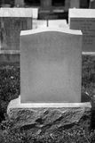 Blank Tombstone (B+W). A blank tombstone in a cemetery Royalty Free Stock Images