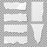 Blank torn paper with bends and tears. Vector set. Blank torn paper with bends and tears. Ripped sheet paper and reminder lacerated paper blank. Vector Royalty Free Stock Image