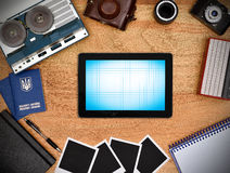 Blank touch pad with blue screen. Royalty Free Stock Image
