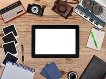 Blank touch pad with white screen. Royalty Free Stock Photography