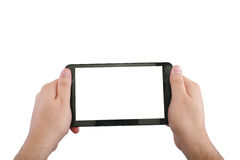 Blank touchpad with two hand Royalty Free Stock Images