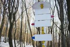 Blank Tourist Signpost in Winter Stock Photo