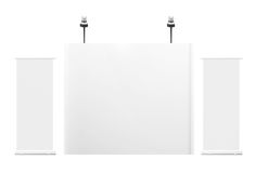 Blank trade exhibition. Stand with roll-up banner . Front view 3d render Royalty Free Stock Photo