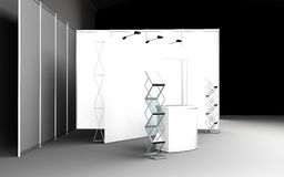 Blank trade show booth for designers 3D rendering. Set Stock Photos