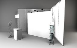 Blank trade show booth for designers 3D rendering. Set Royalty Free Stock Photos