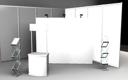Blank trade show booth for designers 3D rendering. Set Stock Image