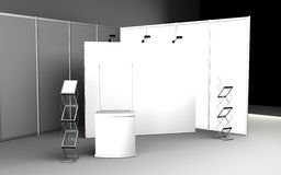 Blank trade show booth for designers 3D rendering. Set Stock Images