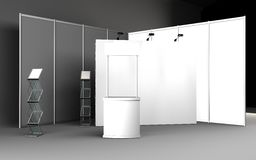 Blank trade show booth for designers 3D rendering. Set Stock Photo