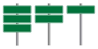 Free Blank Traffic Road Sign Set, Empty Street Signs, Green Isolated On White Background, Vector Illustration. Stock Photos - 152501683
