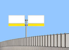 Blank traffic sign and noise barrier fence Royalty Free Stock Photo