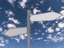 Blank traffic signs. A pair of blank traffic signs on blue sky background royalty free stock photo