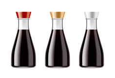 Blank transparent bottles for soy sauce Royalty Free Stock Images