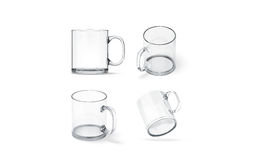 Blank transparent glass mug mock up set isolated, stock illustration