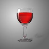 Blank transparent photo realistic isolated on grey. Wine glass with red wine, for branding and your design. Vector illustration Royalty Free Stock Images