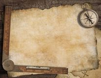 Blank treasure map background with, old compass Royalty Free Stock Photography