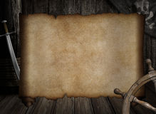 Blank treasure map over other pirates accessories Stock Photos