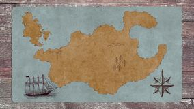 A Blank Treasure Map with a Sailing Boat on a Wooden Table