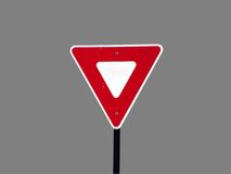 Blank Triangle Street Sign Stock Images