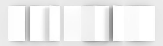 A4. Blank trifold paper brochure mock-up on soft gray background Stock Image