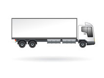 Blank truck isolated. Illustration of goods transportation truck with blank white side surface Stock Photo
