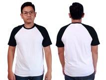 White Black Ringer Shirt Mockup Template Stock Photo