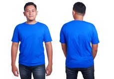 Blue shirt mockup template. Blank tshirt mock up, front and back view, isolated on white. Asian male model wear plain blue shirt mockup. T-shirt clothes design Royalty Free Stock Images