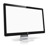 Blank TV or computer monitor. Creative abstract digital technology business concept: blank TV or computer PC monitor display with empty screen isolated on white Royalty Free Stock Photography