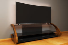 Blank TV monitor side. Side view of wooden TV stand and flat monitor in interior. Mock up, 3D Rendering Stock Photos