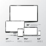 Blank TV screen, lcd monitor, notebook, tablet computer, smartphone mockups isolated on white background Royalty Free Stock Image