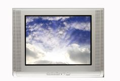 Blank TV and Sunset Royalty Free Stock Photography