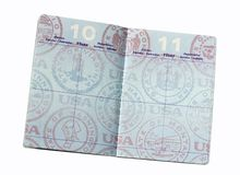 Blank U.S. passport page. Passport open to blank page stock photos